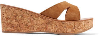 K Jacques St Tropez Kobe Suede And Cork Wedge Sandals - Tan