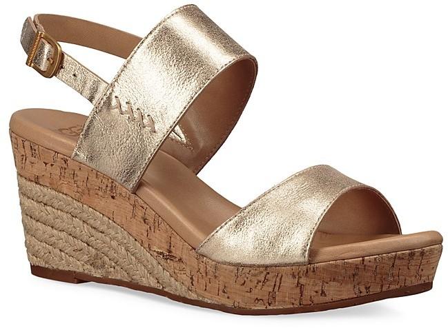 UGGUGG® Elena Metallic Leather Wedge Sandal