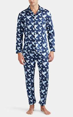 Maison Marcy Men's Magritte Cotton Satin Slim Pajama Set - Blue Pat.