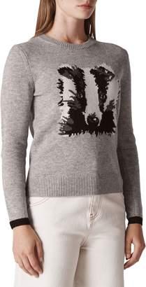 Whistles Badger Intarsia Wool Blend Sweater