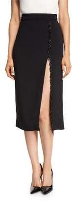 Cushnie Et Ochs Beaded-Trim High-Slit Pencil Skirt, Black $925 thestylecure.com