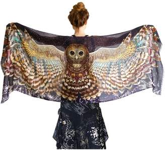 Shovava Night Owl Wings Silk & Cashmere Scarf, Wearable Hand Painted Printed Artistic Shawl