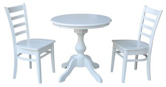 """INC International Concepts 30"""" Round Top Dining Table and 2 Emily Chairs White - 3 Piece Set"""