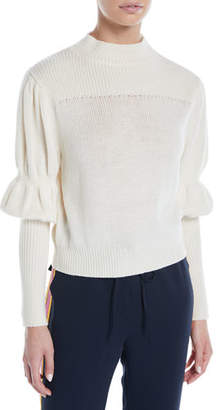 Derek Lam 10 Crosby High-Neck Puff-Sleeve Wool Sweater