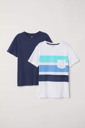 H&M 2-pack T-shirts - White/dark blue - Kids