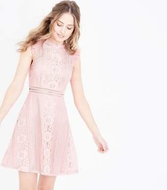 New Look Pink Lace Frill Sleeve Skater Dress 6e8170da8
