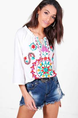 boohoo Boutique Bright Embroidered Smock Top