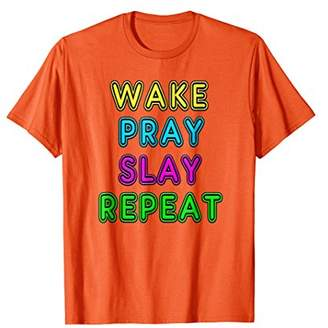 Retro 80's Vintage Neon Sign Wake Pray Slay Repeat T-Shirt