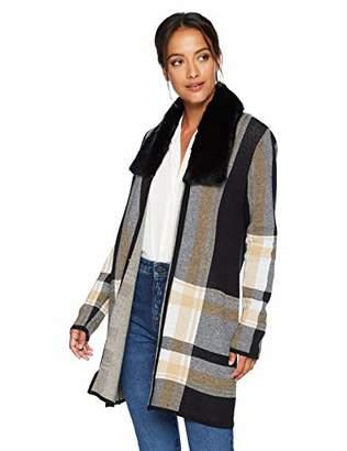 Kasper Women's Fur Collar Long Cardigan Sweater