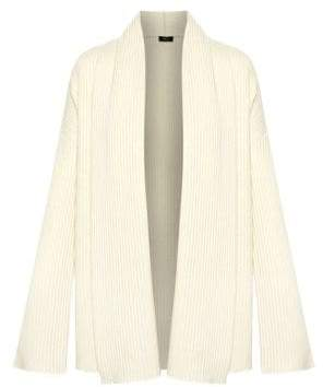 Theory Women's Oversized Rib-Knit Cashmere Cardigan - Ivory Sugar - Size Small