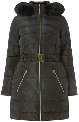 Dorothy Perkins Womens Black Luxe Belted Padded Coat