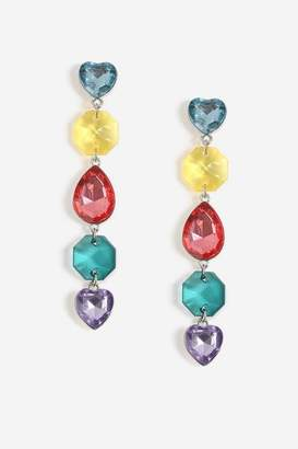 Topshop **Multi Heart and Stone Drop Earrings