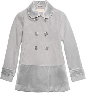 Michael Kors Big Girls Velvet-Trim Double-Breasted Coat