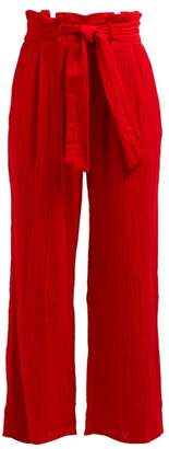 Mara Hoffman Arianna Wide Leg Cotton Trousers - Womens - Red