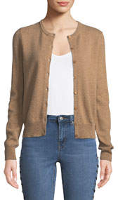 Cashmere Button-Front Cardigan Camel