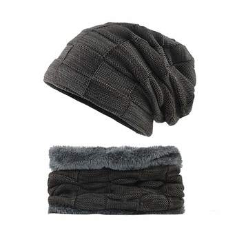 OuYang Unisex Winter Beanie Hat Scarf Set Warm Knit Hat Ski Skull Cap Scarf  Set Slouch 36f074119dc9