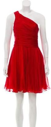 Halston One-Shoulder Silk Dress