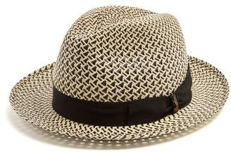 Borsalino Bi Colour Bow Embellished Panama Hat - Mens - Beige Multi