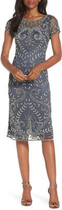 Pisarro Nights Illusion Neck Beaded Sheath Dress