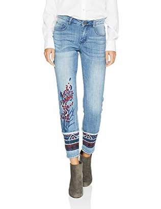 Trust Women's Geo Embroidered Jean with Rolled Cuff