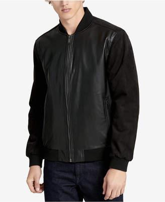 Calvin Klein Men's Faux-Leather Baseball Jacket
