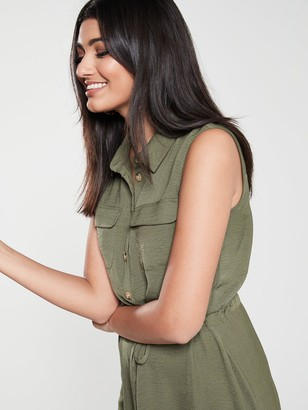 Warehouse Textured Button Through Midi Shirt Dress