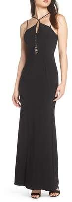 Xscape Evenings Strappy Lace Inset Trumpet Gown