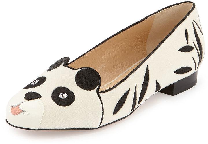 Charlotte Olympia Panda Velvet Flat, White