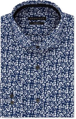 Sean John Men's Classic/Regular Fit Navy Print Dress Shirt