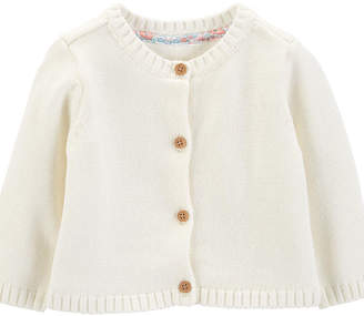 Carter's White Round Neck Long Sleeve Button Cardigan - Baby Girls