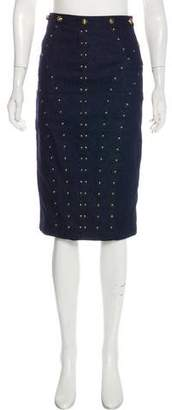 Tamara Mellon Studded Denim Skirt