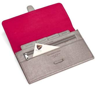 Aspinal of London Classic Travel Wallet In Gunmetal Saffiano Deep Fuchsia Suede