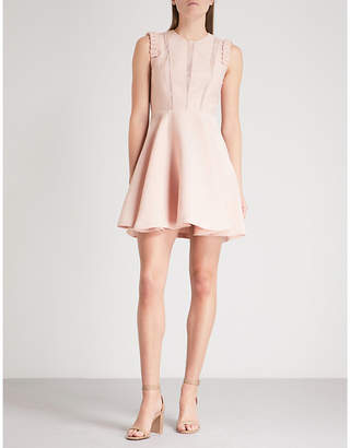 Sandro Lace-panel woven dress