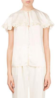 Magda Butrym Piccio Ruffled Cape Drape-Back Silk Cocktail Blouse