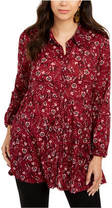 Style&Co. Style & Co Printed Button-Down Tunic Shirt