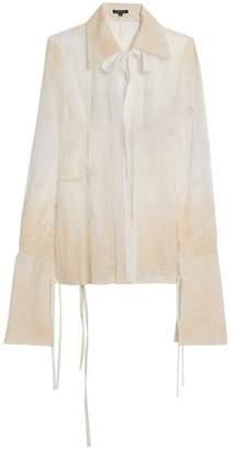 Ann Demeulemeester Velvet-Trimmed Embroidered Cotton-Tulle Shirt