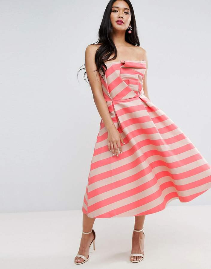 Asos ASOS Stripe Bandeau Prom Midi Dress