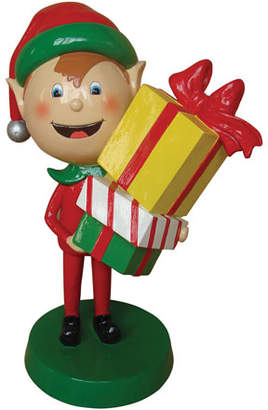 Live Form Elf with Gift Box Outdoor Christmas Decoration, 30""