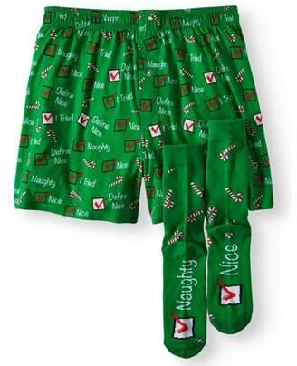 Holiday Men's Naughty and Nice Boxer Short and Crew Sock Gift Set Combo