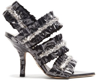 Cesare Paciotti By Midnight - Crystal Embellished Satin Sandals - Womens - Black