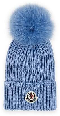 Moncler Kids' Fur-Trimmed Wool Beanie