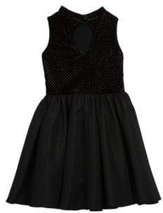 Girl's Pastourelle Velour Shantung Dress