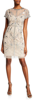 Aidan Mattox Beaded Mesh Short-Sleeve Illusion Cocktail Dress