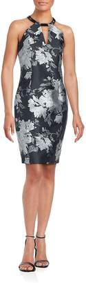 Carmen Marc Valvo Women's Floral Split Neck Sheath Dress