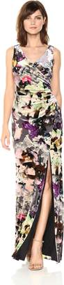Adrianna Papell Women's Floral Velvet Long Dress