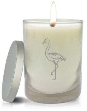 Carved Solutions Gem Collection Flamingo Unscented Soy Wax Glass Candle in White