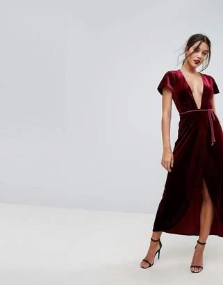 Lioness Allover Velvet Wrap Maxi Dress With Rope Belt Detail