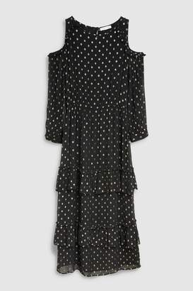 Next Womens Black/Gold Metallic Dress