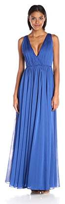 Halston Women's Sleeveless V Neck Chiffon Gown