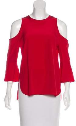 Tibi Silk Cold Shoulder Top